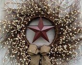ON SALE Angel Vine Wreath with Pip Berries and Barn Star - Americana Wreath - Pip Berry Wreath- 4th of July Wreath - Holiday Wreath- FREE Sh