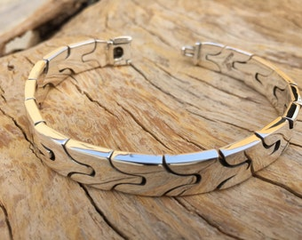 Mens Thick and Heavy 925 sterling silver fretwork Bracelet  handmade.