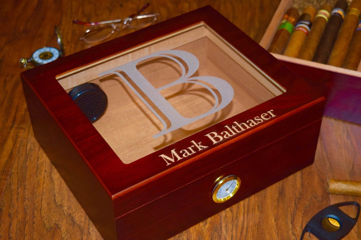 Glass Top Personalized Cigar Humidor Box Perfect For