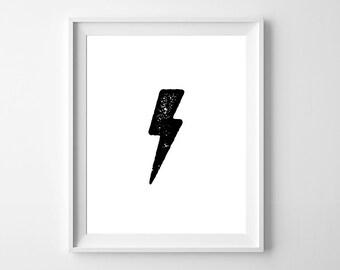 Lightning Bolt/Nursery decor/Lighting Bolt Wall art/8x10 Wall Print/Instant download/Printable Wall Art/Digital Wall art/Minimal wall print