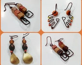 Long Boho Rustic Cute Weird Earrings Wood Brown Ochre Orange Yellow Gold Tiger Eye Copper Wire Geometric Women Girls Beaded Danglers Gift