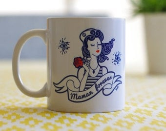 "Ceramic mug ""MOM for Ever"" (motif tattoo vintage) - Illustration by workshop VUDO"