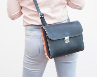 Leather bag, Crossbody bag, satchelbag in black