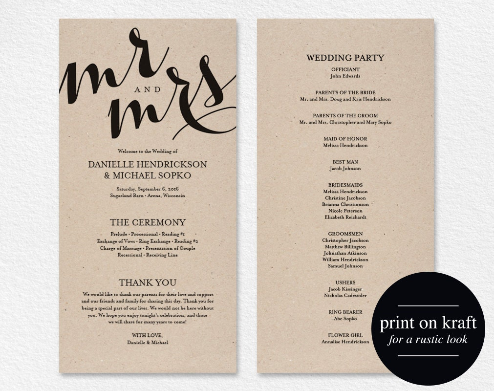 Remarkable image regarding printable wedding program