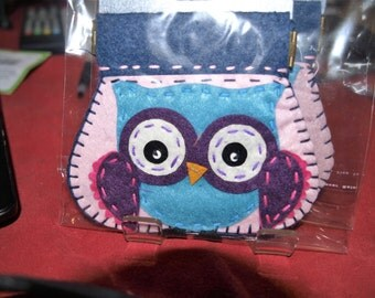Blue Owl Felt Coin Purse