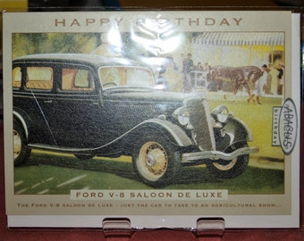 V8 Saloon de Lux  at works 1934 Birthday Card
