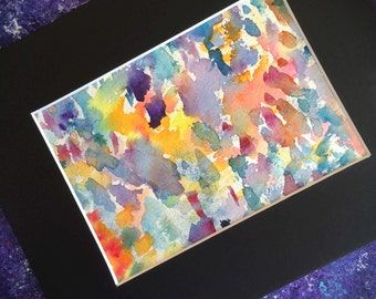 "Colorful Original Abstract Watercolor Painting/Matted and Mounted 8""x10""/Bohemian"