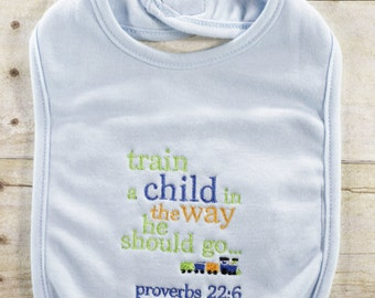 Train a child in the way he should go - baby boys - bib - coming home - baby shower - gift - set