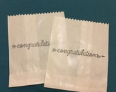 25 x White Paper lolly Sweet Candy Bag - Hand Stamped Congratulations Bag