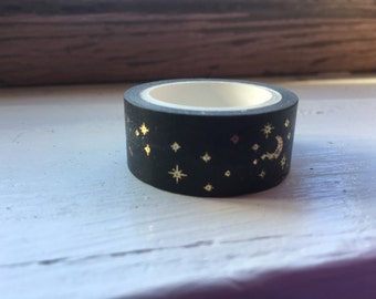 Stars and Moon Black and Gold Washi Tape - High Quality Adhesive Tape For Added Sparkle