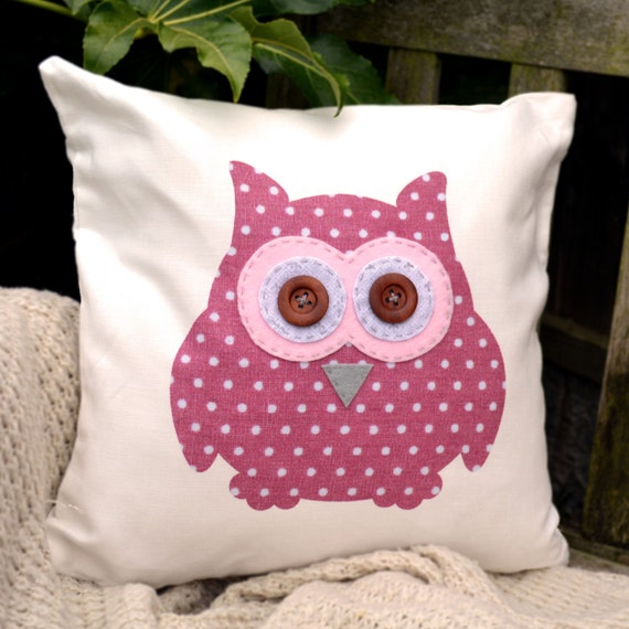 """Owl Cushion - Pink Polka Dot, Pink, Fleur de lys, Hearts  """"The Owls of Hoot"""" Collection, Tamsin Reed Designs"""