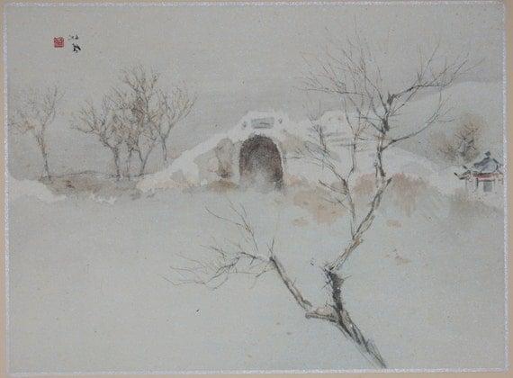 "Japanese antique print, Takeuchi Seihō, ""West Lake Cultural Landscape of Hangzhou"""