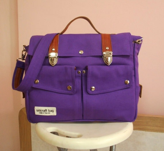 purple messenger bags handbags bags purses school by unicraftbag. Black Bedroom Furniture Sets. Home Design Ideas