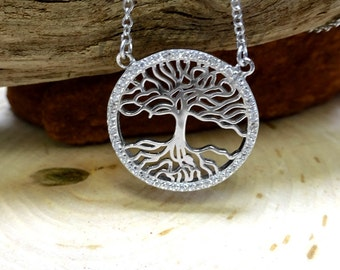 Tree of Life Pendant .925 Sterling Silver Cubic Zirconia Necklace