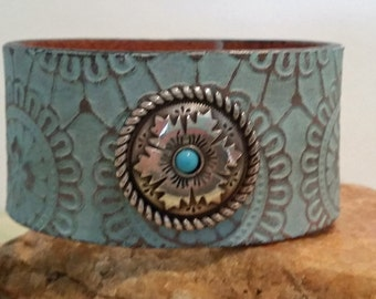 Southwestern leather cuff bracelet with turquoise concho