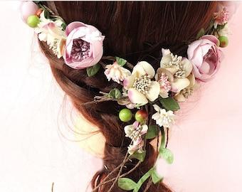 Peony Flower Crown Silk Peony headband Wedding headpieces Peony  wreath Flower halo Bridal Hairpiece-1 set