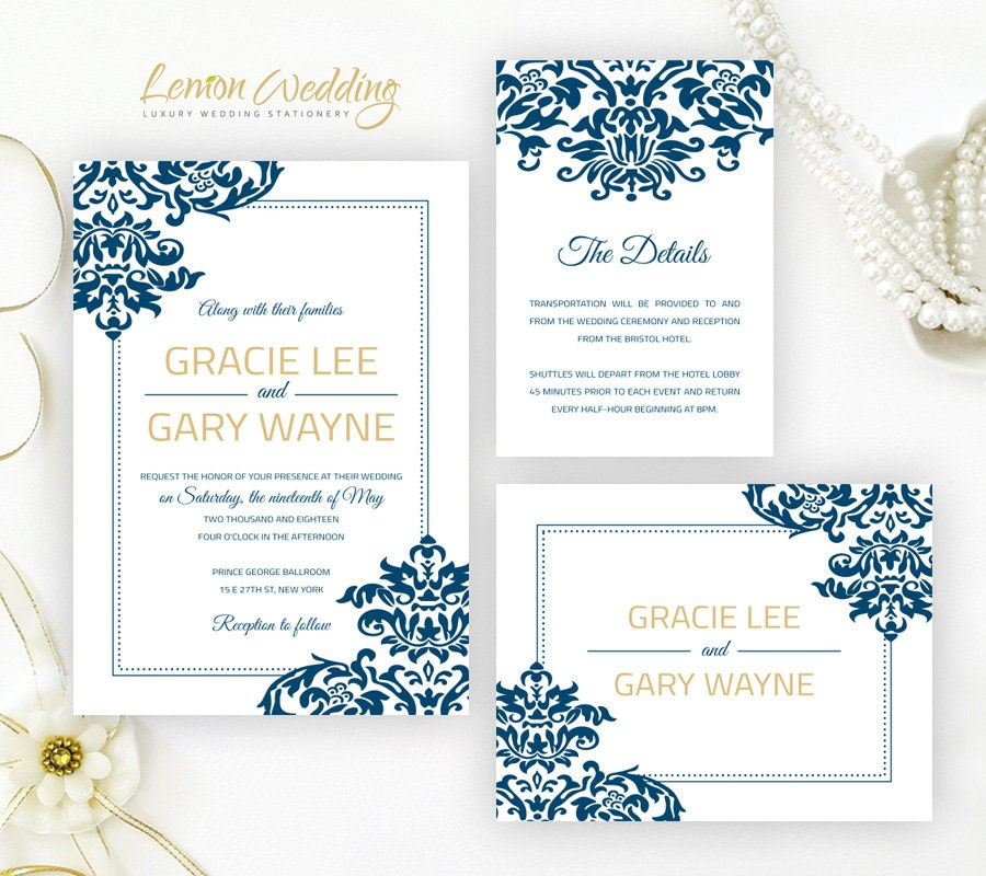 royal blue and gold damask wedding invitation kits printed