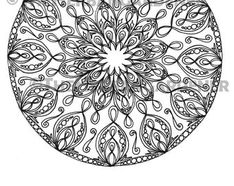 COLORING PAGE Instant Download Mandala 22 Hand Drawn Single Coloring Sheet