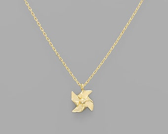 Gold Pinwheel Charm Necklace