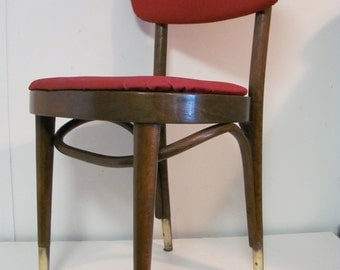 Mid Century Modern Red Bentwood Cafe Chair