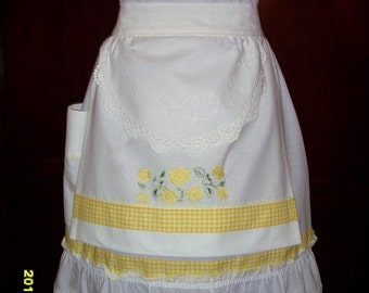 Yellow Gingham and Yellow Flowers Handmade Bib Apron With a Pocket