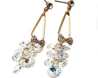 Elegant bunches crystal earrings
