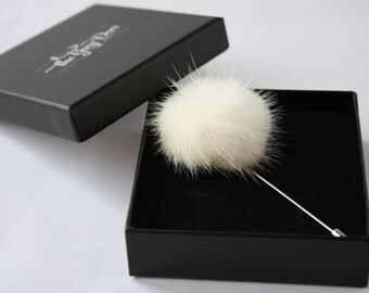 Lapel Pin - boutonniere - White Mink Fur Ball/Pompon - men lapel pin, boutonniere, Dapper Men, Dandy, Wedding Groom