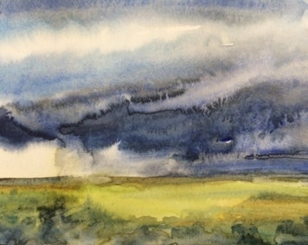 Cloud painting, rain clouds,Rain cloud art, stormy, original watercolor,  Storm clouds, Stormy, fields, countryside