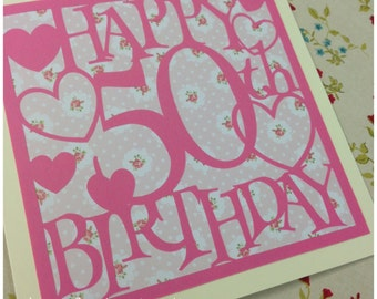 50th Birthday Hearts Paper Cutting Template - Commercial Use