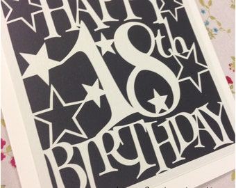 18th Birthday Stars Paper Cutting Template - Commercial Use