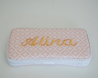 Pink Geometric Personalized Baby Wipes Case