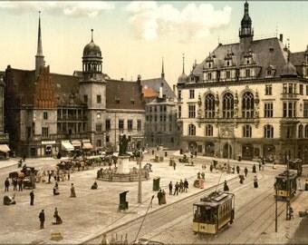 24x36 Poster . Market Place Hotel De Ville, Halle, German Saxony, Germany 1890