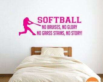 Softball - No Bruises, No Glory, No Grass Stains, No Story! - and other Sports Designs for your Kid's Bedroom