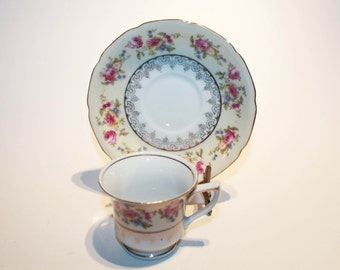 Gold Castle Demitasse Cup and Saucer, Pretty Cup and Saucer, Tiny Teacup, Espresso, Floral on Cream Demitasse Set, Replacement China, Japan