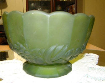 Green Frosted Glass Bowl