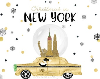 Christmas in New York Clipart, New York City Holiday Theme Clipart, NYC Taxi,  Nutcracker, Santa Claus, Hand Drawn Designs, 8 Individual PNG