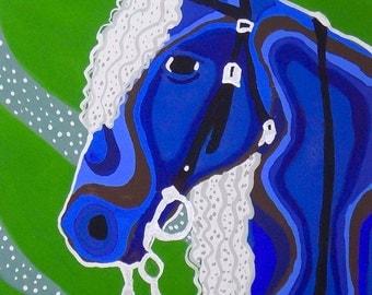 Blue Horse Gouache Painting, Blue Horse Gouache Portrait Painting, Horse Gouache Painting