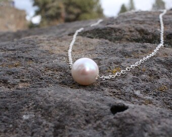 Genuine pearl necklace on sterling silver; inspirational jewelry; gift necklace; single pearl; freshwater pearl necklace; real pearl