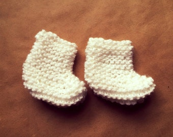 Knit Baby Socks, Newborn Baby Shoes, White Baby Booties