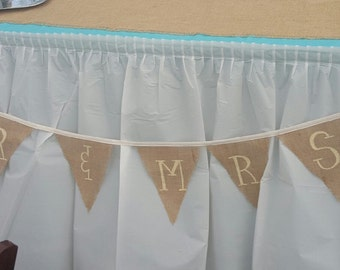 MR & MRS banner, burlap  and lace garland , swag, wedding or anniversary decor