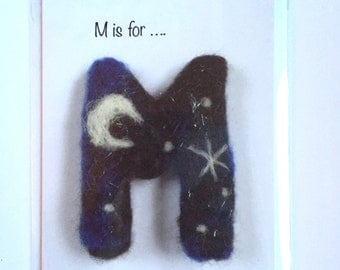 A6 Letter M greetings card for birthdays/celebrations.