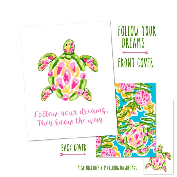 """Personalized Planner Cover """"Follow your dreams..."""" - Choose Cover only or Cover Set - Many Planner Sizes Available!"""