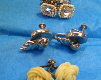 Lot of Vintage Clip On Screw Back Earrings