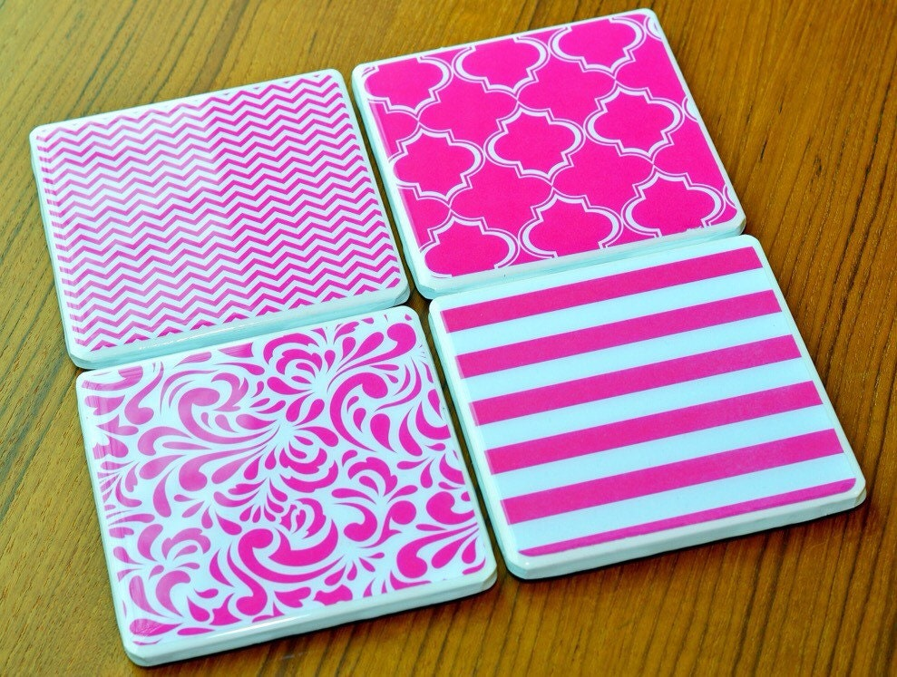 Chevron Coasters Pink Coasters Cute Coasters Gifts For Her