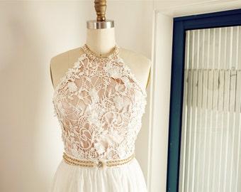 Halter Lace Chiffon Boho Beach Backless Open Back Wedding Dress Prom Dress Wedding Party Dress