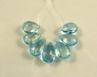 Sky blue topaz faceted pear briolette beads AAA 12-14mm 7pcs