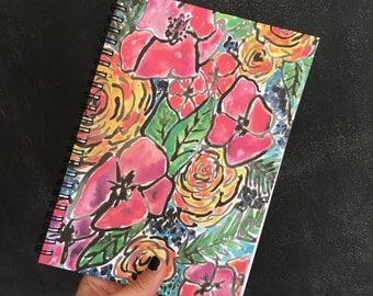 Unique notebook for her, Floral diary, spiral notebook, Botanicals, gift for sister in law, bullet journaling, floral notebook,