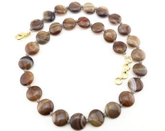 Stone jewellery - Brown band agate, semi precious stone, agate bead necklace, agate jewellery, natural stone, wedding jewellery, for her