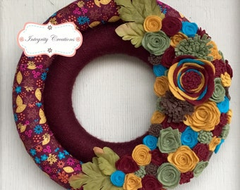 Fall/Autumn Cloth and Yarn Double Wrapped Wreath with Felt Flowers
