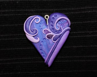 Purple Polymer Clay Heart Necklace Pendant